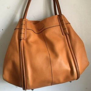 TOD'S Large Orange Leather Tote Bag